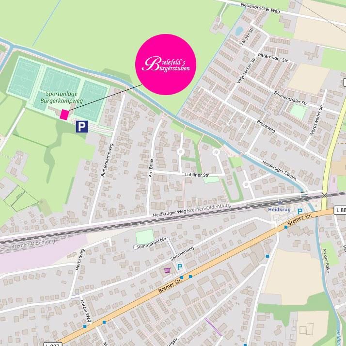 Landkarte Anfahrt zu Bielefeld